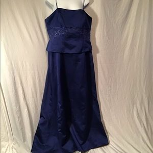 Blue formal gown/prom dress, satin & beaded, sz.16